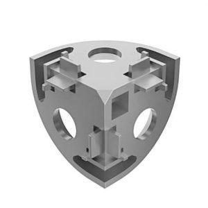3Way Conn Angle 45 45x45x45 slot 10 die-cast zinc plain
